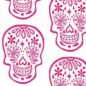 Sugar Skulls - Pink on white