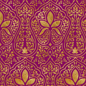 Rajkumari ~ Pompadour Purple and Gilt Gold ~ Batik