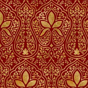 Rajkumari ~ Claret and Gilt Gold ~ Batik
