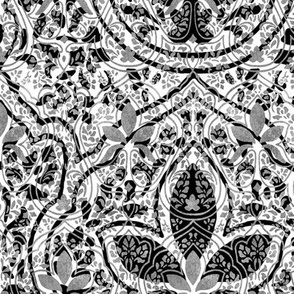Rajkumari ~ White with Silvered and Black ~ Batik