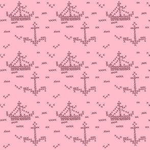 Cross Stitch Boats Pink and Maroon