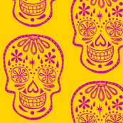 Sugar Skulls - yellow and pink