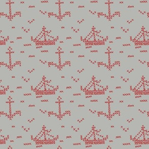 Cross Stitch Boats Grey and Red