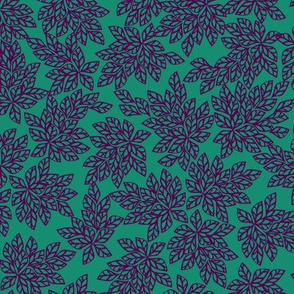 Blazing Leaves - purple on teal