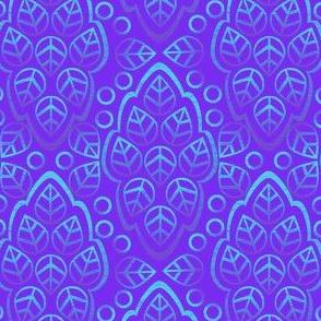 LEAFY LINES teal on violet
