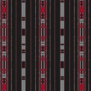 Red and Gray Stripes on Black Small