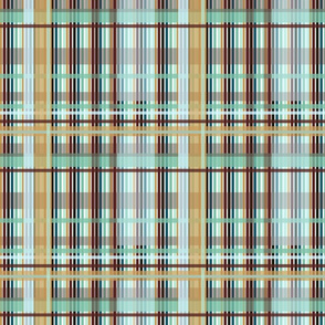 Dinosaurs_Aqua__Browns__Beige Plaid.