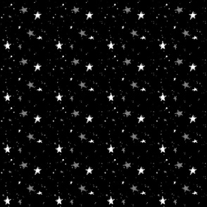 Sweet Stars - White and Gray on Black