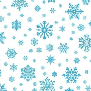 Snowflakes Lt Blue on White