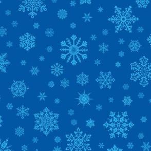 Snowflakes Lt Blue on Dk Blue