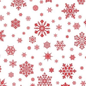 Snowflakes Red on White