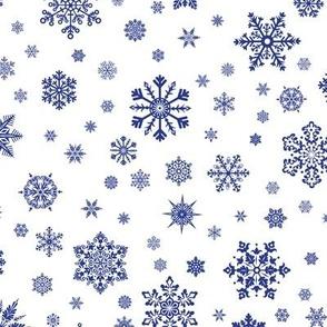 Snowflakes Dk Blue on White