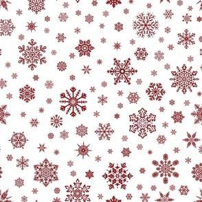 Snowflakes Dk Red