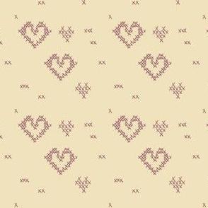 Cross Stitch Tiny Hearts on Linen