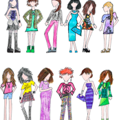 Fashion Girls Hand Colored