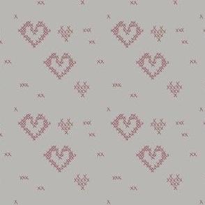 Cross Stitch Hearts on Grey