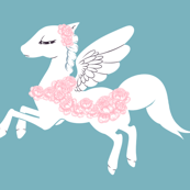 Flowery Unicorn Fabric