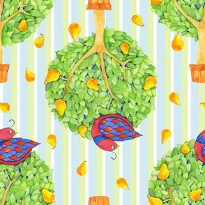 Partridge in a Pear Tree 3 on Stripes Blue