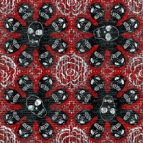 Black skeletons on red