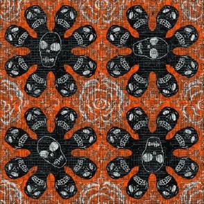 Black skeletons on orange