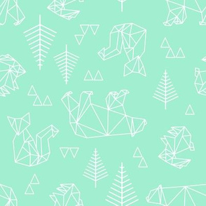geometric woodland in teal.