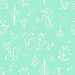 geometric woodland in teal.