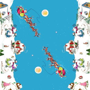 "Santa's Village tablecloth 72"" x 42"" Christmas"
