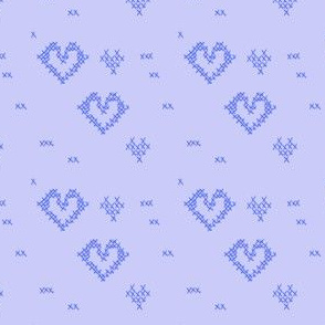 Cross Stitch Hearts Powder Blue