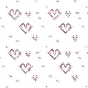 Cross Stitch Hearts white