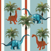 Palm Trees With Dinosaurs & Stripes