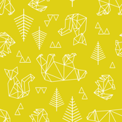geometric woodland in mustard.
