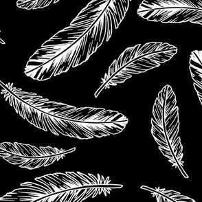 feathers - white on black