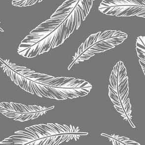 feathers - white on grey