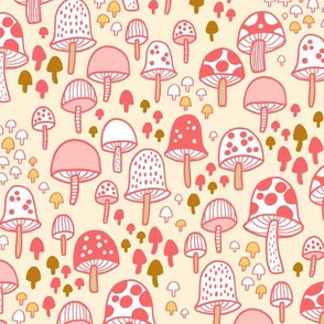mushrooms - coral and cream