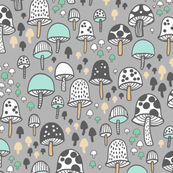mushrooms - grey and aqua