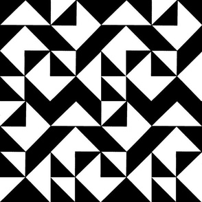 Black and White Triangles and Tulips Cheater Quilt