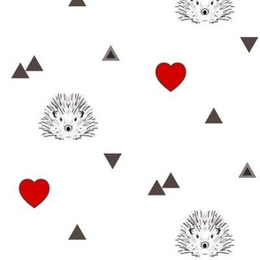 hedgehog and hearts red