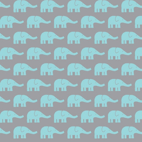 MEDIUM Elephants in mint and grey
