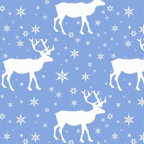 Reindeer In Snow Bright Blue