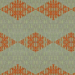 Diamond Chevron - gray, green, orange