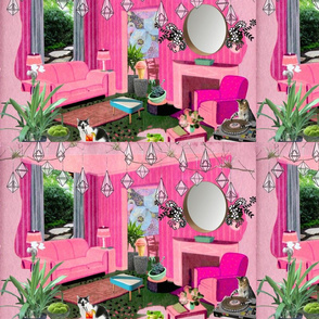 pink collage interior