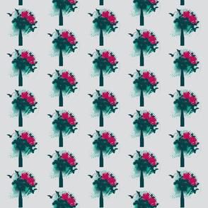 flowers and birds-teal