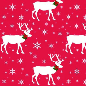 Reindeer In Snow Red