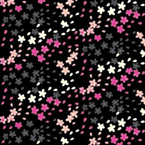 Calligraphy Blossoms( Black/Pink)