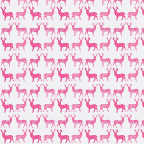 Hot Pink Meadow Deer on White SMALL SCALE -ch-ch