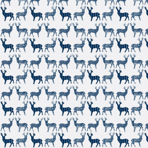 Navy Blue Meadow Deer on White SMALL SCALE