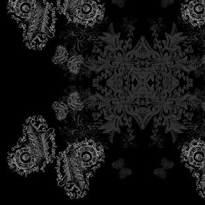 round and round dark butterfly calligraphy