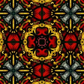 Decorative Stained Glass Tile Version II in Red, gold, black, and grey