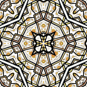 White Stained Glass Star Burst Trellis with Gold Leaves