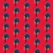 flowers and birds-crimson